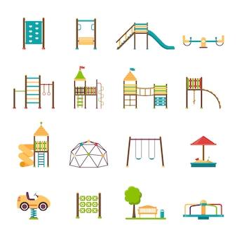 Conjunto de ícones plana de recreio