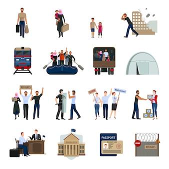 Conjunto de ícones plana de refugiados apátridas