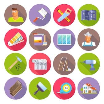 Conjunto de ícones plana de renovação