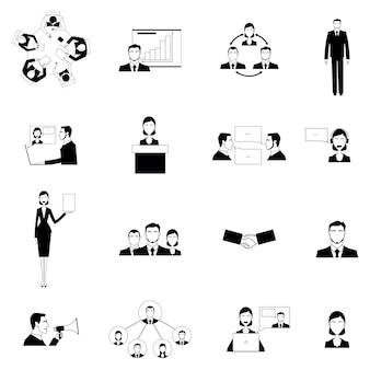Conjunto de ícones plana de reunião de negócios