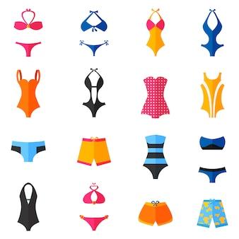 Conjunto de ícones plana de roupa de banho