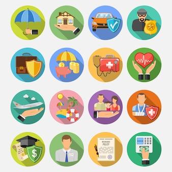 Conjunto de ícones plana de seguros