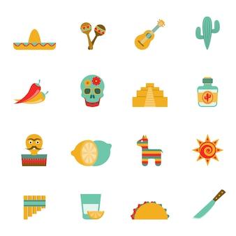 Conjunto de ícones plana de símbolos de cultura mexicana