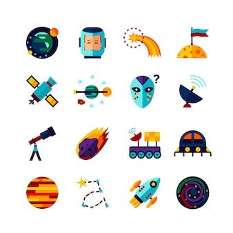 Conjunto de ícones plana de símbolos de espaço
