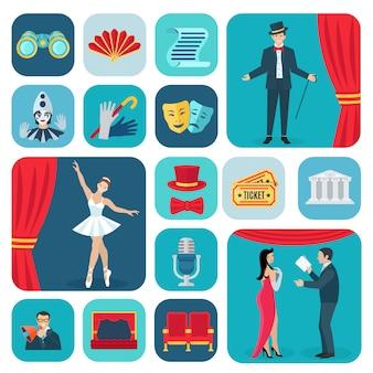 Conjunto de ícones plana de teatro