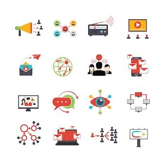 Conjunto de ícones plana de técnica de marketing viral