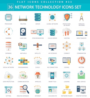 Conjunto de ícones plana de tecnologia de rede