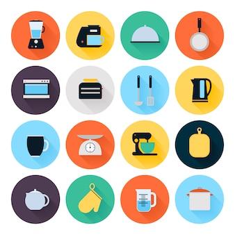Conjunto de ícones plana de utensílios de cozinha e utensílios de cozinha