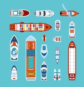 Conjunto de ícones plana de vista superior de navios