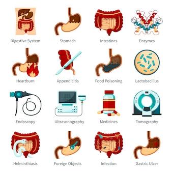 Conjunto de ícones plana do sistema digestivo