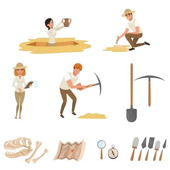 Conjunto de ícones plana dos desenhos animados com ferramentas para escavações arqueológicas, esqueleto de dinossauro e pessoas-arqueólogos no processo de trabalho.