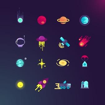 Conjunto de ícones plana espaço e vetor