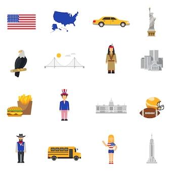 Conjunto de ícones plana eua de símbolos de cultura