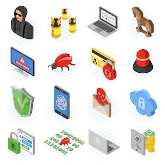 Conjunto de ícones plana isométrica de segurança na internet