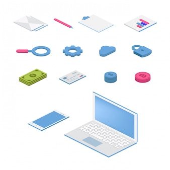 Conjunto de ícones plana isométrica. ilustração colorida do vetor 3d com símbolos de seo. rede digital, analítica