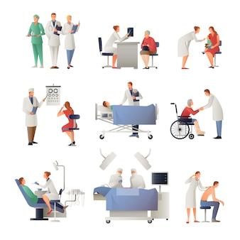 Conjunto de ícones plana médico e paciente