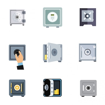 Conjunto de ícones plana segura do banco