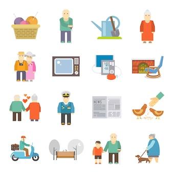 Conjunto de ícones plana vida pensionistas