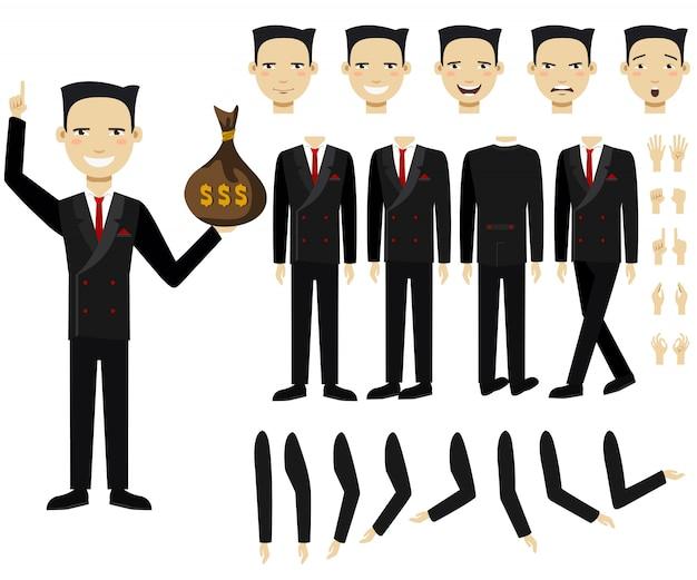 Conjunto de ícones planas de homem de negócios, segurando o saco de dinheiro