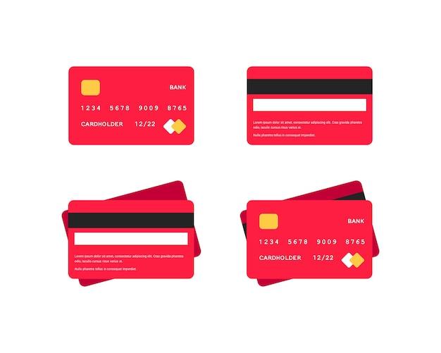 Conjunto de ícones planos de cartão de crédito. cartões de banco vermelhos de vista lateral e superior isolados no fundo branco. dinheiro no cartão de débito de plástico. ilustração de compras online para web design, aplicativos, infográficos