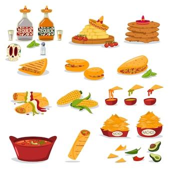 Conjunto de ícones planos de desenhos animados de comida mexicana