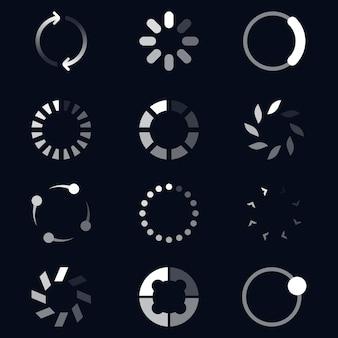 Conjunto de ícones planos de diferentes carregadeiras redondas