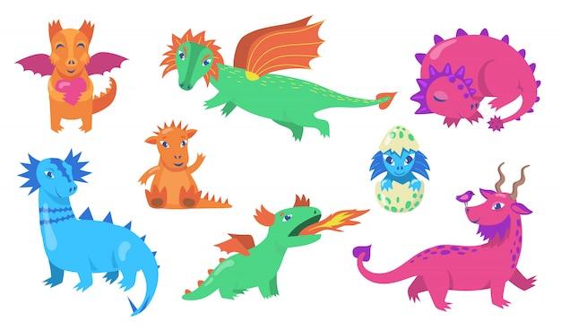 Conjunto de ícones planos de dragões de conto de fadas fofos