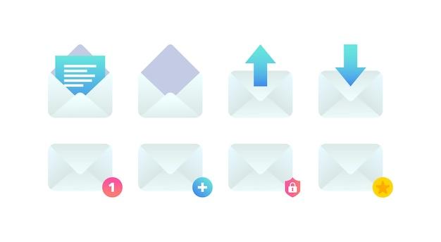 Conjunto de ícones planos de e-mail nova notificação de mensagem recebida abrir e-mail adicionar nova mensagem enviar sinal de e-mail