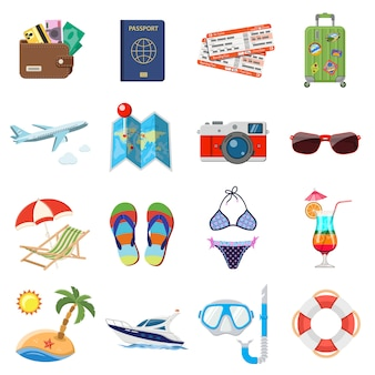 Conjunto de ícones planos de férias e turismo
