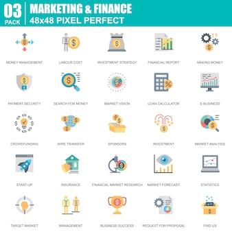 Conjunto de ícones planos de marketing e finanças