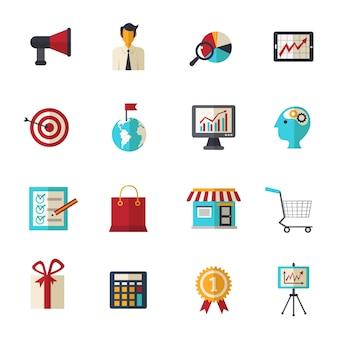 Conjunto de ícones planos de marketing