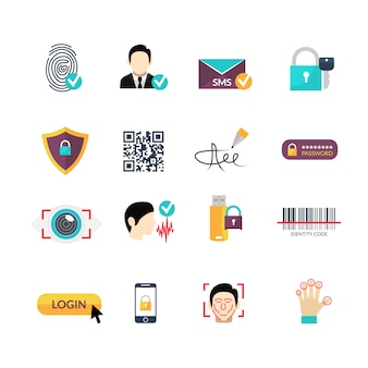 Conjunto de ícones planos de métodos seguros de verificação