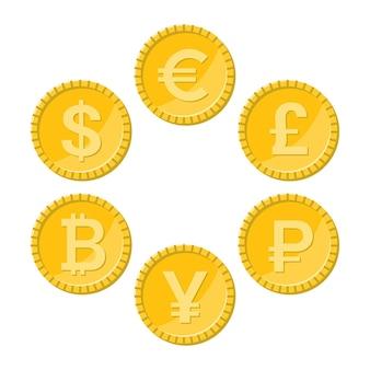Conjunto de ícones planos de moeda