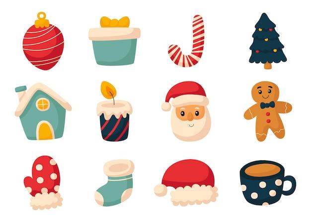 Conjunto de ícones planos de natal fofo isolado no fundo branco
