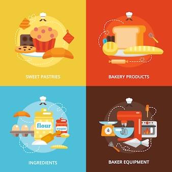 Conjunto de ícones planos de padaria