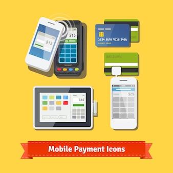 Conjunto de ícones planos de pagamento de negócios móveis
