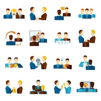 Conjunto de ícones planos de parceria