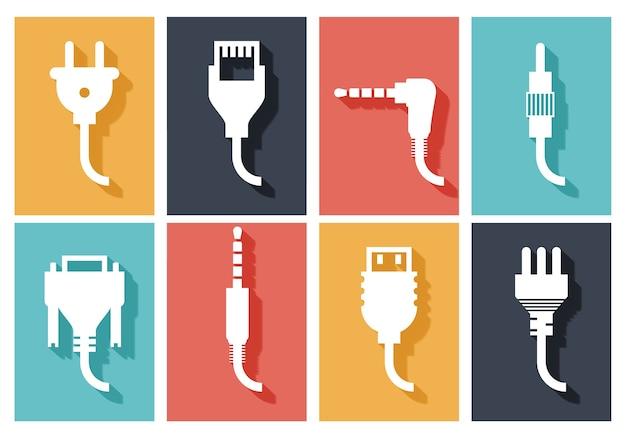 Conjunto de ícones planos de plugue elétrico