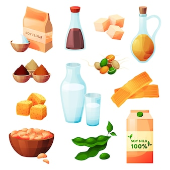 Conjunto de ícones planos de produtos alimentícios de soja e soja