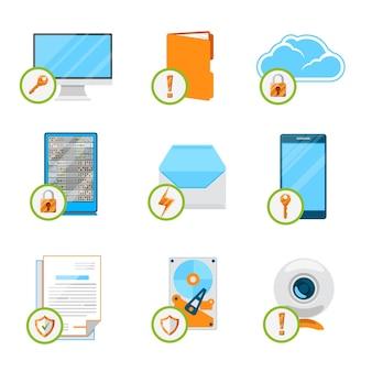 Conjunto de ícones planos de proteção de dados. dados de proteção, internet de computador, nuvem e rede, dispositivo de segurança e hardware de armazenamento.