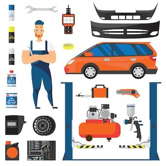 Conjunto de ícones planos de serviço de carro