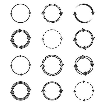 Conjunto de ícones planos de setas de círculo diferentes