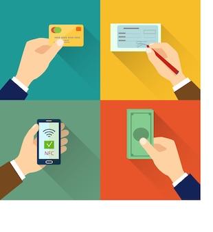 Conjunto de ícones planos de tipos de pagamento ilustração em vetor estilo simples