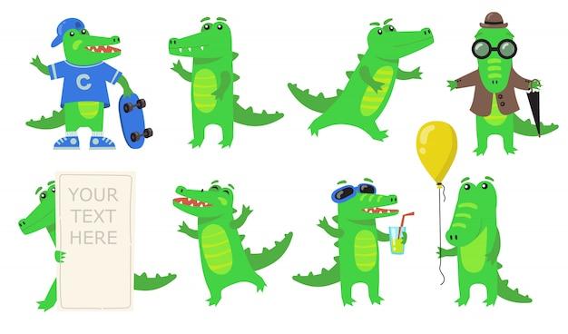 Conjunto de ícones planos de vários personagens de crocodilo verde