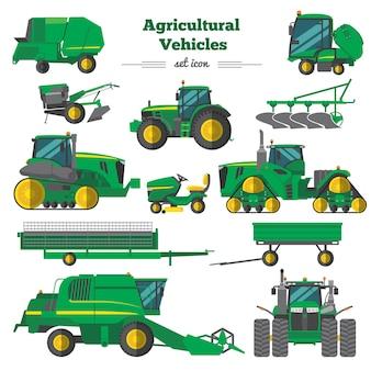 Conjunto de ícones planos de veículos agrícolas