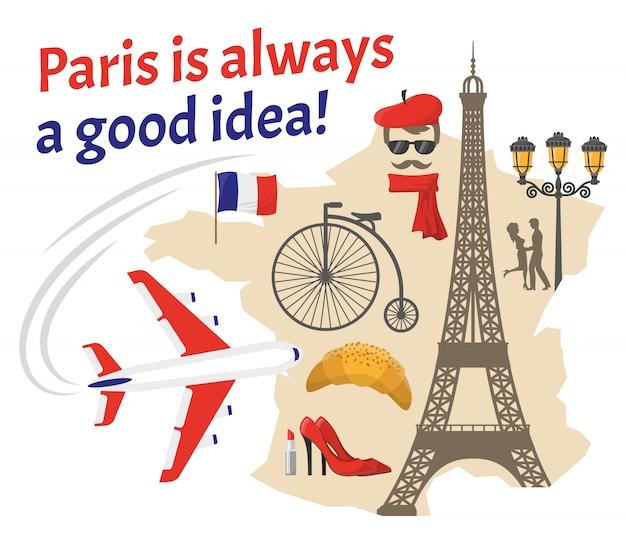 Conjunto de ícones planos decorativos de paris