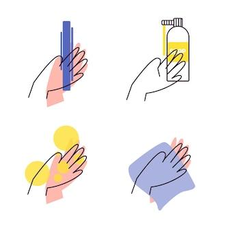 Conjunto de ícones planos do dia de lavagem das mãos
