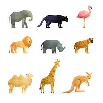 Conjunto de ícones poligonais de animais selvagens do sul