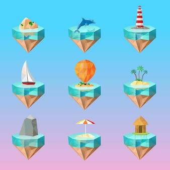 Conjunto de ícones poligonais de símbolos ilha tropical