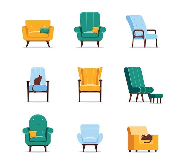 Conjunto de ícones poltronas de design diferente, estofamento acolchoado com botões, apoios de braço, pernas finas de madeira e assentos macios